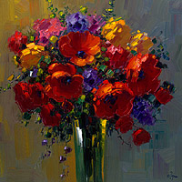 Poppies Bouquet 40x40