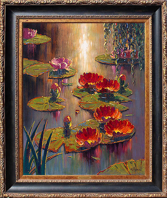 Bob pejman_ Scarlett Lilies at Sunset original oil