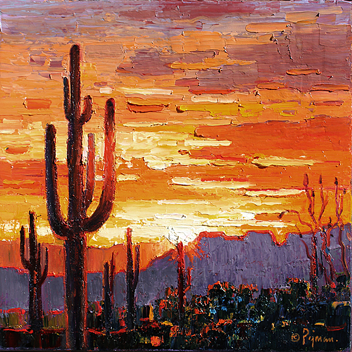 Pejman Saguaros in Sunset