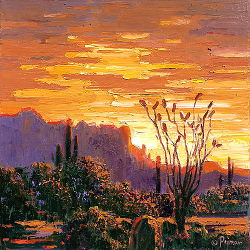Pejman Superstition Mountain Sunset 16x16